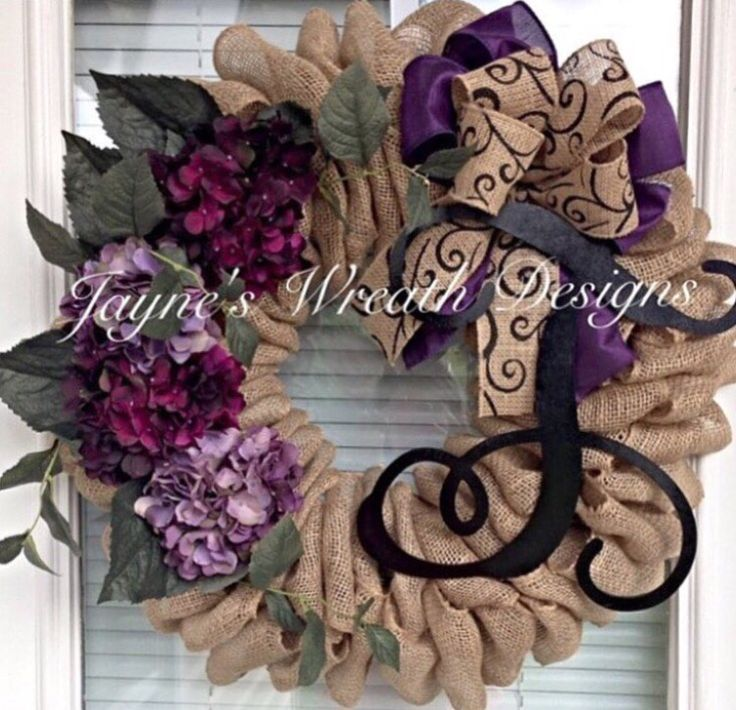 Burlap Wreath with Plum Hydrangeas and Initial by Jayne's Wreath Designs on fb and Instagram