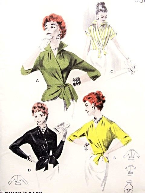1950s Stylish Wrap Around Blouse Quick n Easy Pattern Butterick 7640 Wing Collar or V Neckline Side Wrap  Overblouse or Tuck In Day or Evening Bust 34 Vintage Sewing Pattern FACTORY FOLDED