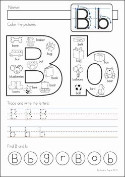 Kindergarten Back to School Math & Literacy Worksheets and Activities. 135 pages. A page from the unit: Beginning Sounds / Handwriting / Letter Identification page