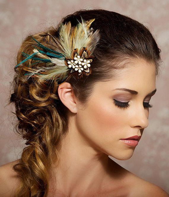 Bohemian Wedding, Feather Fascinator, Ivory Hair Clip, Mint Green, Mocha, Vintage Rhinestone - Made to Order - CLAUDETTE