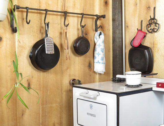 Kitchen Pot Rack Craftsman Style Kitchen by EchoHillForge on Etsy