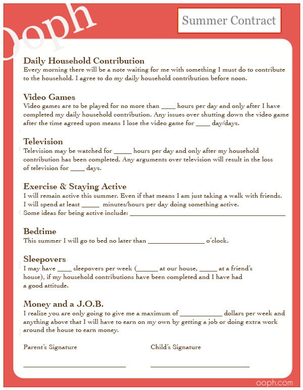 Summer Contract: Free printable for you and the kids.