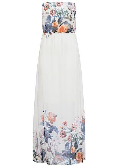 Hailys Damen Bandeau Longform Kleid Blumen Muster weiss blau orange