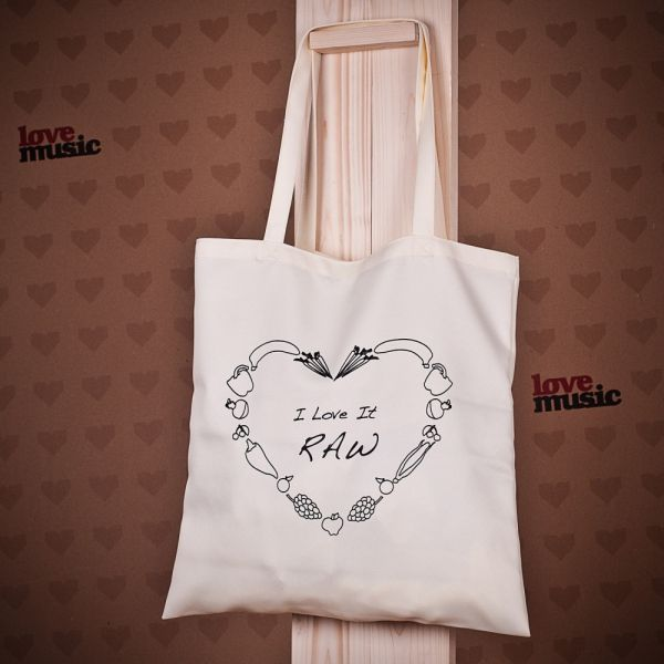Shopping bag - I love it raw :: lovemusic.cz - značka tvého srdce