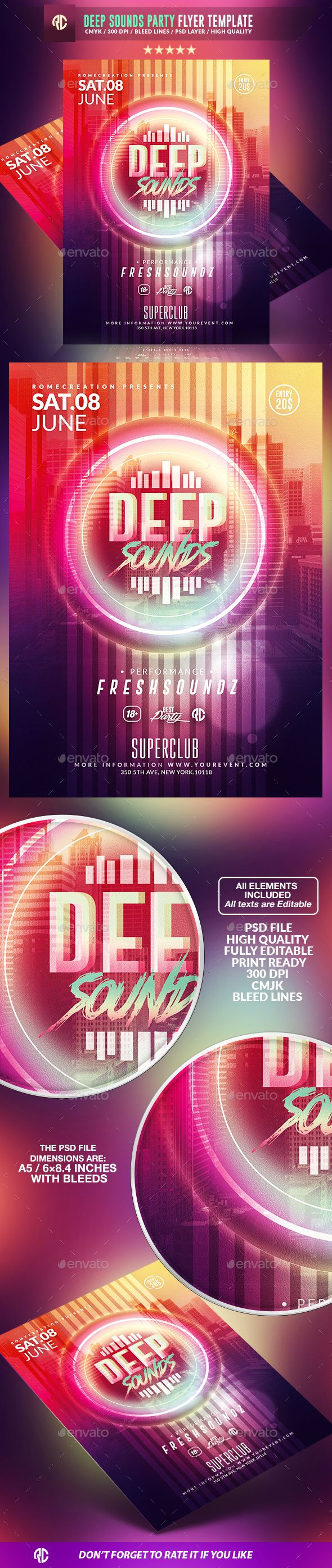Deep Sounds Party | Psd Flyer Template available on #envatomarket  #templates #romecreation #minimal #deep #flyer #flyers #poster #fresh #party #geometry #event #glow #glowinthedark #sounds #psd #market #graphicriver