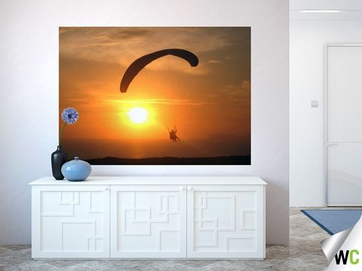 Wall art of a Paraglider in Lima, Peru