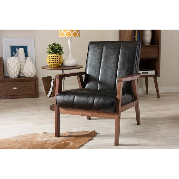 Baxton Studio Nikko Mid Century Modern Scandinavian Style Black Faux  Leather Wooden Lounge Chair
