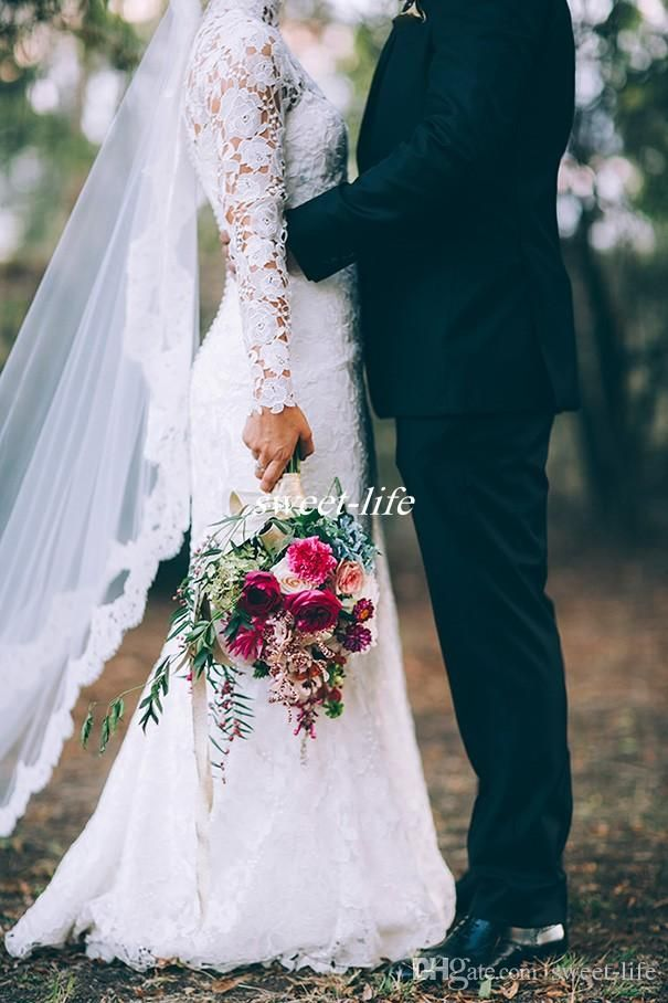 Princess Fall Winter Long Sleeve Wedding Dresses Sheath High Neck Full Lace Applique 2016 Custom Made Outdoor Church Wedding Bridal Gowns Online with $138.51/Piece on Sweet-life's Store | DHgate.com