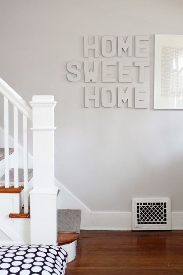 Paint color paint cardboard letters same color as wall would be a really cute idea for a chic party