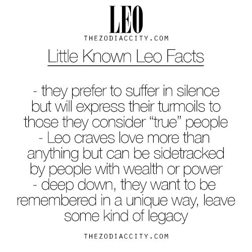 Little Known Facts About Leo. For more information on the zodiac signs, click here.