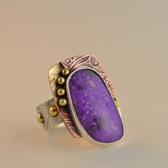 Sugilite Metalsmith Ring  Purple Stone Ring by DeborahCloseDesigns, $172.00