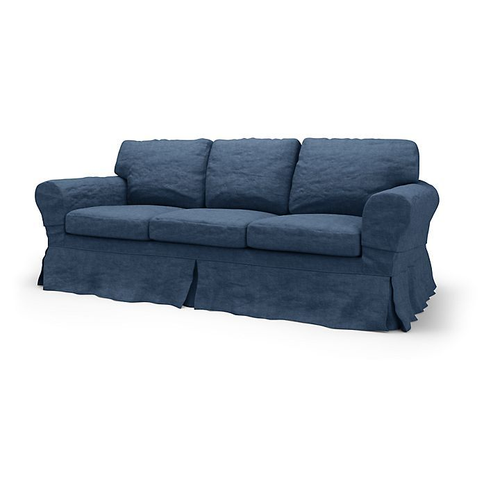 Ektorp, Sofa Covers, 3 Seater, Loose Fit Country using the fabric Brera Lino Ink Blue