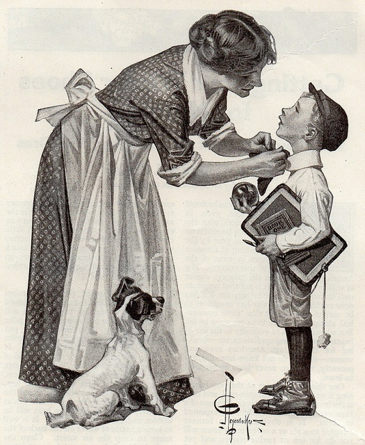 1919 J C Leyendecker 'First Day of School' appears to be a cover Illustration (? Help Comment)