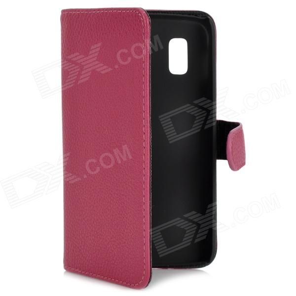 Protective Flip-Open PU Leather Case for LG E960 Nexus 4 Dark Red