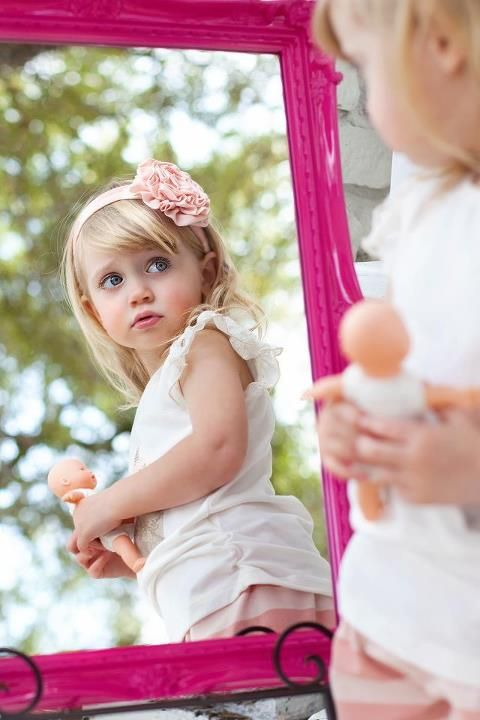 Aww... sweet mirror image! Photo Session Ideas | Props | Prop | Girls | Family | Child Photography | Portraits