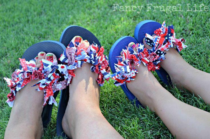 Fourth of July Fabric Scrap Flip Flops & Rosette Flowers |