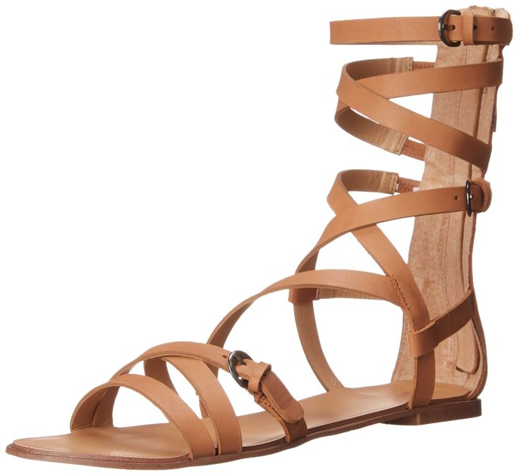 Joe's Jeans Women's Teddy Gladiator Sandal, Caramel, 7.5 M US. Gladiator sandal featuring multiple adjustable straps and zipper entry at counter.