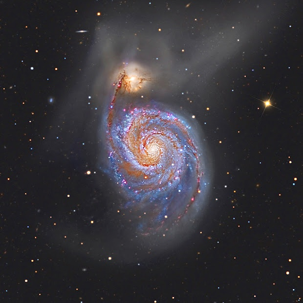 A stunning deep image of M51, the Whirlpool Galaxy!