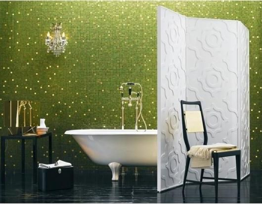 ....green.  I love this green mosaic tile - and I love it not only because of it's green avocado magnificence, but also because the white tiles are so intermittent.  But:  Mr. House Fixer Upper won't go for it.  ahhh....