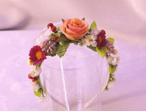 https://www.etsy.com/listing/223726982/peach-rose-floral-headband-flowergirl? on Etsy 18eur