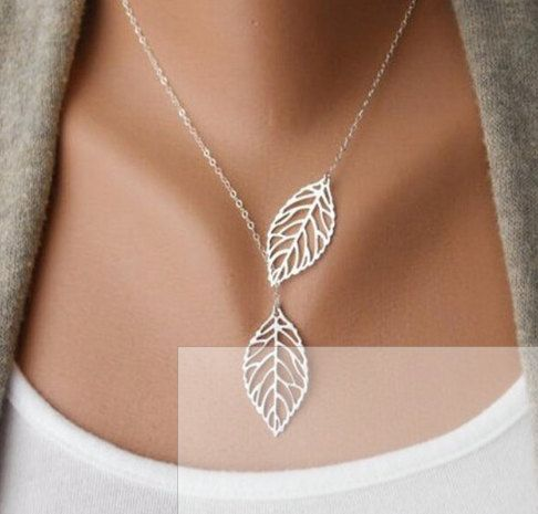 Leaf Lariat In Silver Silver Jewelry Modern by DelicatelyLayered