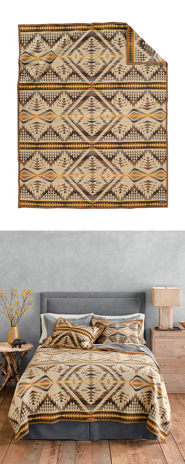 Can't get enough of the desert motif? We've located a simply stunning bed cover. The Santa Fe Blanket delivers a mouth-watering Southwestern print in a virgin wool and cotton blend, bringing warmth, du...  Find the Santa Fe Blanket by Pendleton, as seen in the Modern Ghost Town Revival Collection at http://dotandbo.com/collections/modern-ghost-town-revival?utm_source=pinterest&utm_medium=organic&db_sku=114709