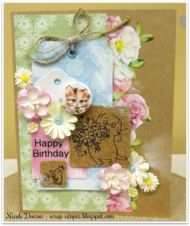 Birthday card featuring Basik the cat from ScrapBerry's along with A Furry Little Story collection. See details at http://scrap-utopia.blogspot.ca/2017/03/cute-kitty-cat-scrapberrys-dt-reveal.html #scraputopia #scrapbooking #handmadecards #scrapberrys