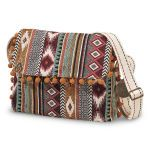 Roomy shoulder bag is a classic Southwestern blanket style in woven cotton with pompom trim. Foldover flap with magnetic snap opens to a fully lined interior with zippered wall pocket. Flat bottom.