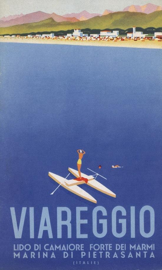 Vintage Italian Posters ~ #illustrator  #Italian #posters ~ art deco poster Viareggio / Italy