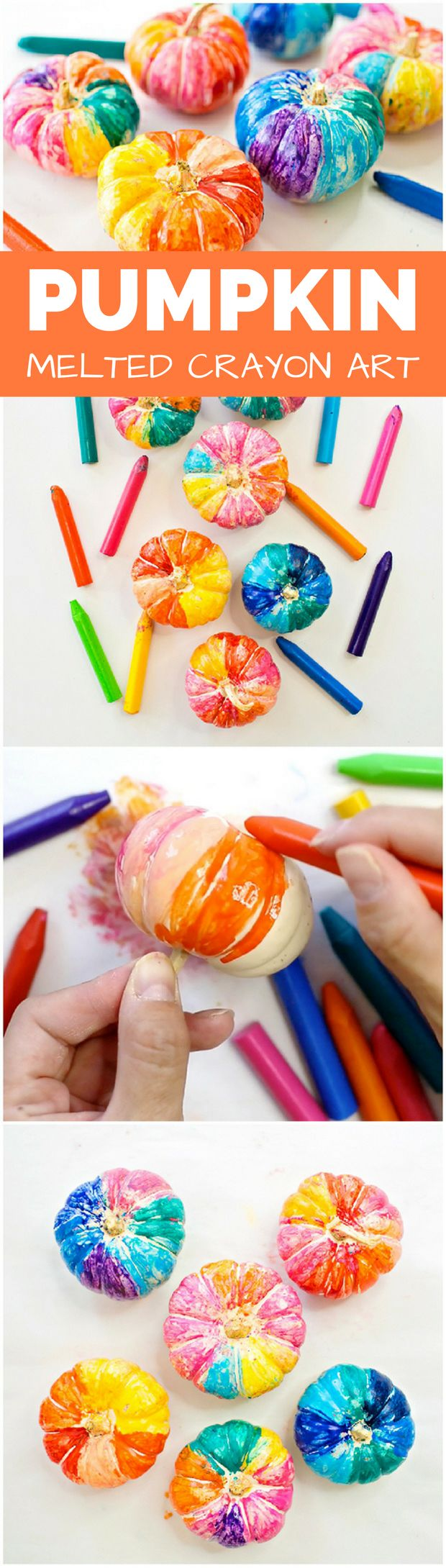 Hot Pumpkin Melted Crayon Art. Create colorful pumpkins with this fun and easy art process. Cute no carve pumpkin idea for kids.