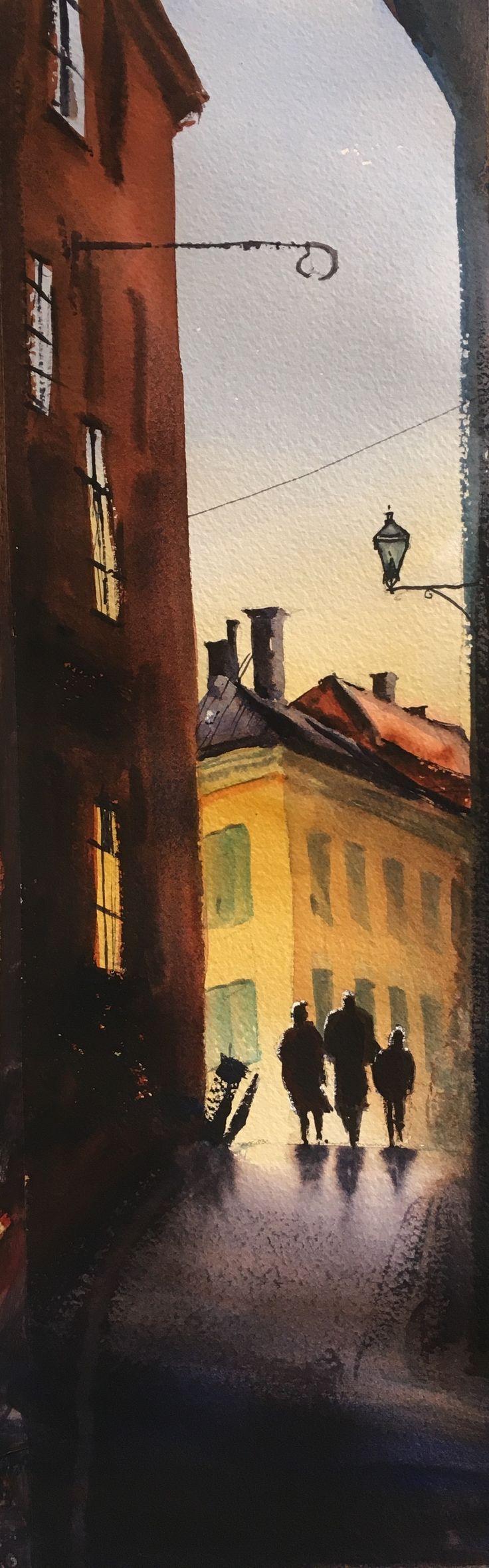 Prästgatan, 2017, akvarell av Stefan Gadnell. SOLD