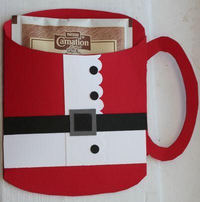 "Mug ""Santa"" shaped card cocoa holder"