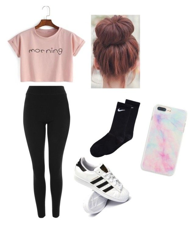 """"""""""" by haileymagana on Polyvore featuring Topshop, NIKE and adidas"""
