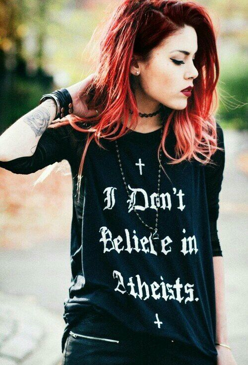 Best shirt ever! I don't believe in Christians either. Thank God. ♡
