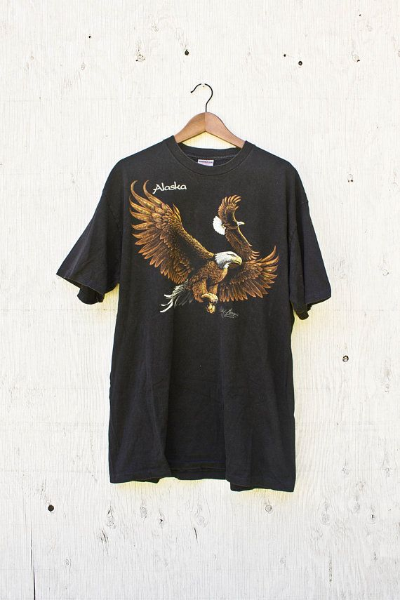 1e11e8cbf84b9 90s Eagle Shirt - Vintage Alaska TShirt - 1990 Wildlife Graphic Tee - Mens  XLarge - Womens Oversized - Vintage Eagle Tee - Cliff Bonamie