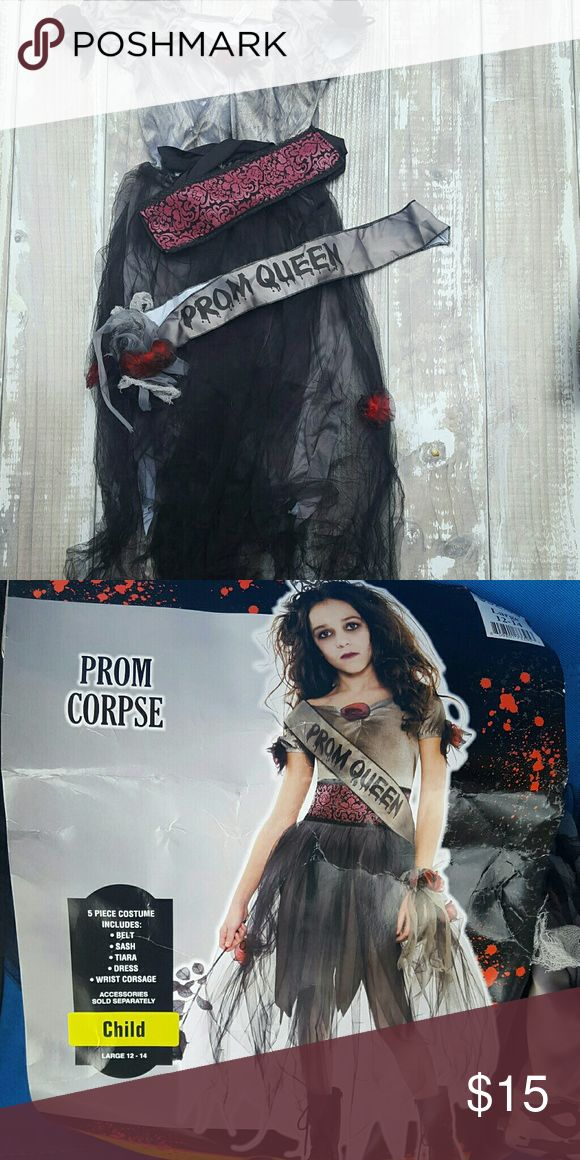 Girls Zombie Prom Queen Costume Girls sz. 12/14 Zombie Prom Queen Halloween Costume. Comes with dress, belt, sash and wrist corsage. Worn once.   No Trades  No PayPal Costumes Halloween