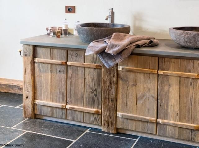 For Outside Rustic Bathroom I Love This Cabinet Style With A Poured Concrete Counter Top