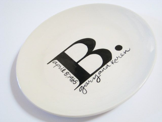 Monogrammed Plate Personalized With Name and Date