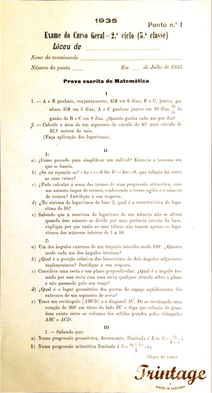 Em 1935 era assim o exame de Matemática do Curso Geral - 2.º Ciclo (5.º Classe). Fácil?