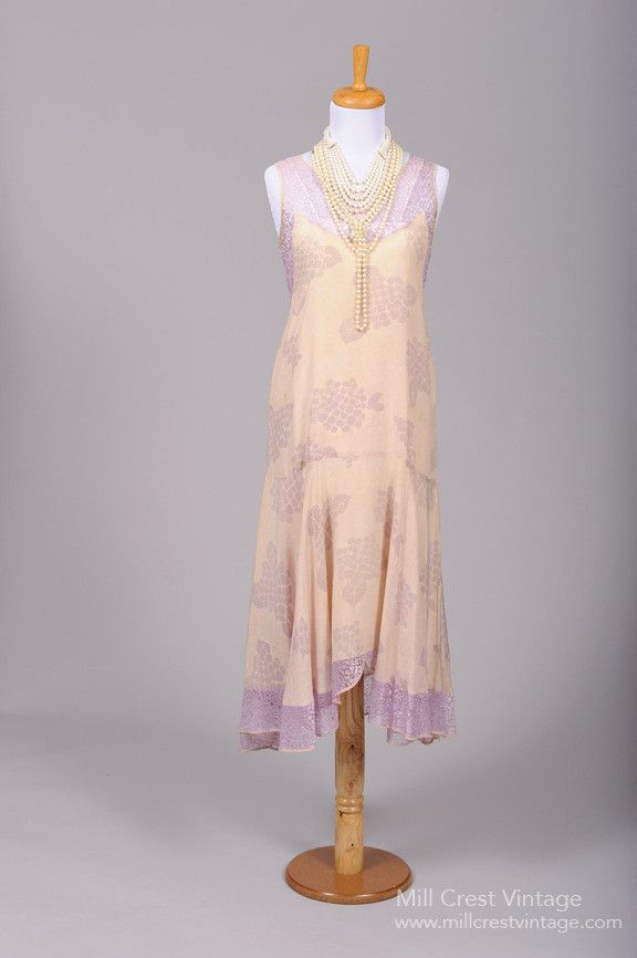 1920 Lilac Lace and Silk Vintage Wedding Dress , Vintage Wedding Dresses - 1920 Vintage, Mill Crest Vintage - 1
