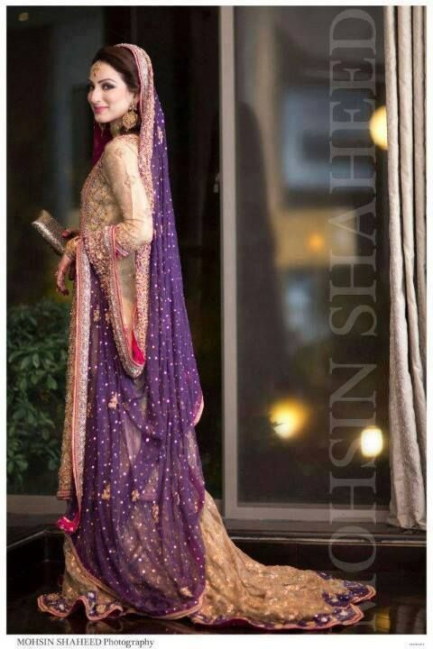 golden - cream - purple long gown / Pakistani maxi dress   dulhan / bridal wear