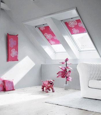 floral fabric patterns window treatments blinds Sloping Window