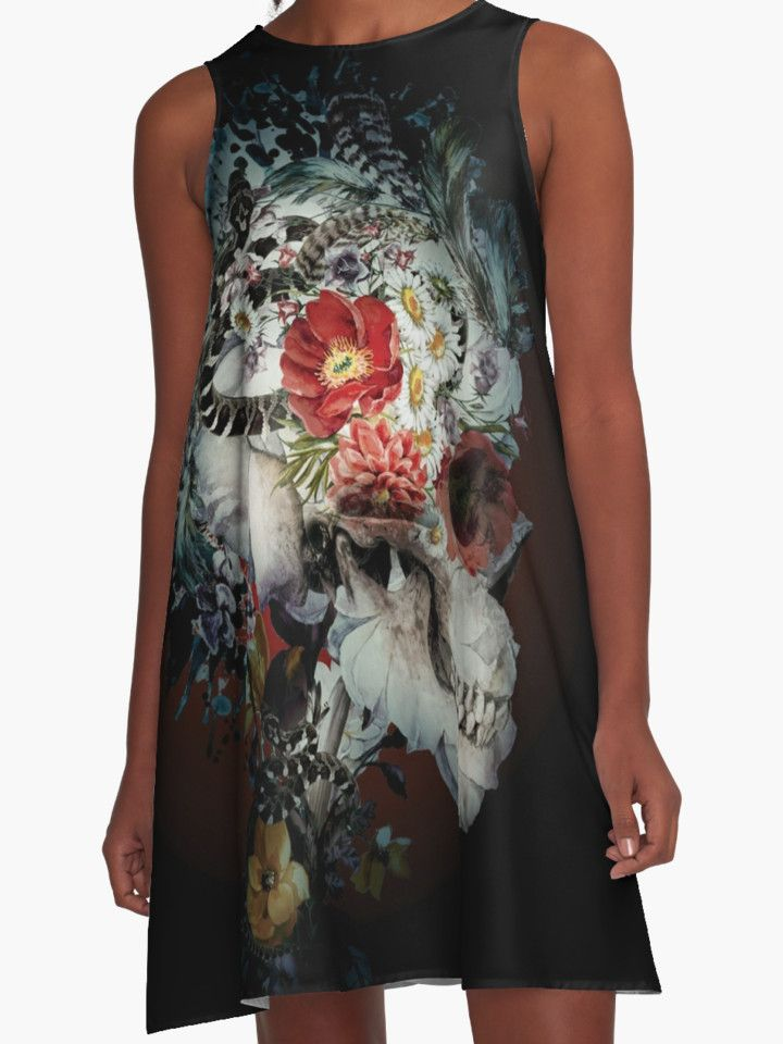 Skull I Black Series by RIZA PEKER #women #fashion #summer #dress #floral #skull