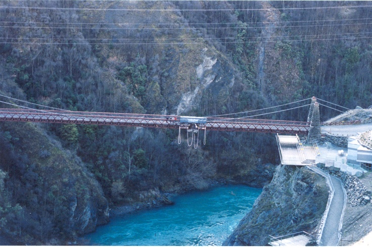 The world's first bungee jump over the Wanaka River near Queenstown.