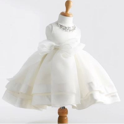 New vestido christmas baby girl formal party wedding baptism white sleeveless tutu dress clothes for 1-2 years dresses  80044
