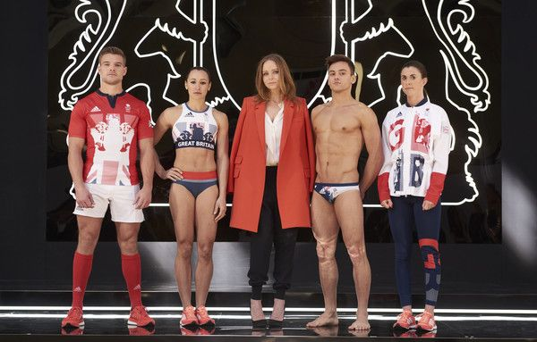 Stella McCartney Photos Photos - In this handout provided by adidas, Creative Director Stella McCartney joins Team GB and ParalympicsGB athletes to unveil the new adidas and Stella McCartney Team GB kit for Rio 2016 (L to R) Tom Mitchell, Jessica Ennis-Hill, Stella McCartney, Tom Daley, Olivia Breen at Seymour Leisure Centre on April 27, 2016 in London, England. - Team GB Kit Presentation For Rio 2016