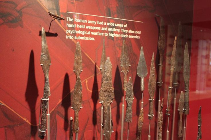 Some of the weapons on display at the Chesterholm Museum, located near Hexham in Northumberland