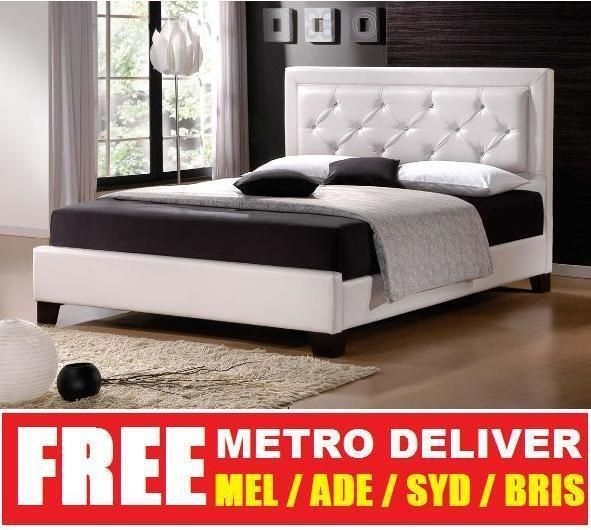 lisa king single double queen king size white pu leather bed frame
