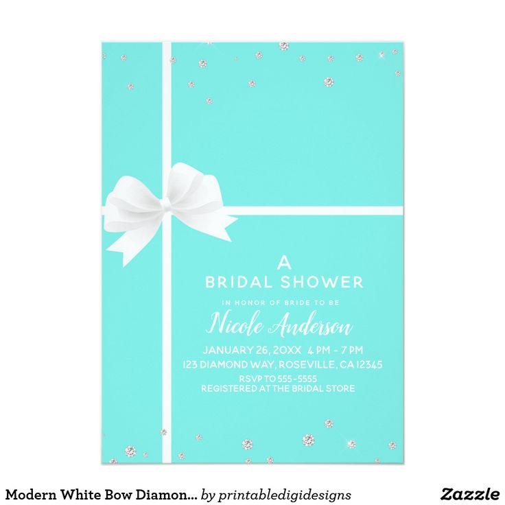 Modern White Bow Diamond Bling Bridal Shower