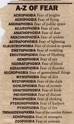 A-Z of Fear // Mythology of Blue: Archive...I must confess to a few of these phobias...claustrophobia, (biggest one), acrophobia, and aerophobia.....too many!
